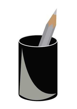 pencil in black cup Illustration