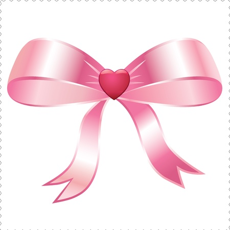 pink heart ribbon Vettoriali