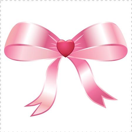 pink heart ribbon Vector