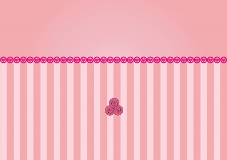 vector pink background with hearts and roses Illustration