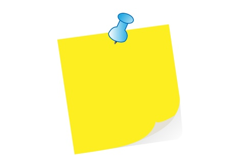 yellow note paper blue push pin office business Vector