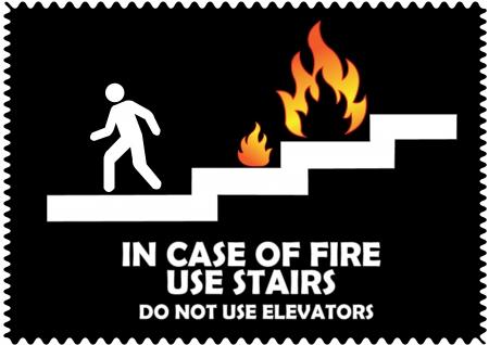 no correr: En el caso de las escaleras del uso del fuego No utilice los ascensores firman