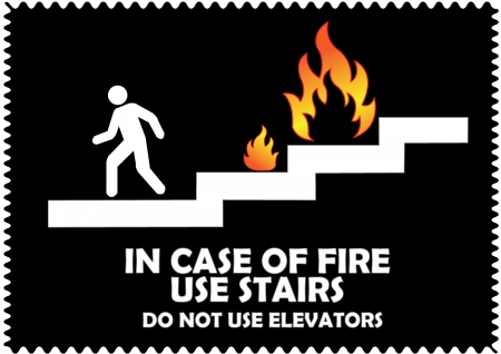 In case of fire use stairs do not use elevators sign