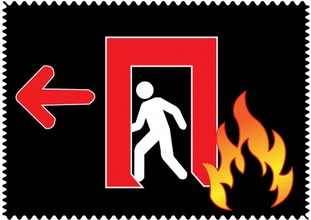 Emergency fire exit with arrow direction to left side Stock Vector - 20088030