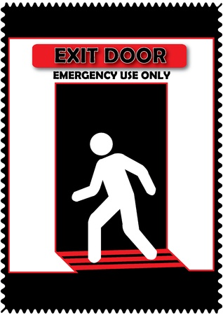 Exit Door Emergency Use Only Sign Isolate with black background Stock Vector - 20088054