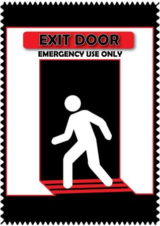 no correr: La puerta de salida de emergencia Utilice sólo signo Aislar con fondo negro