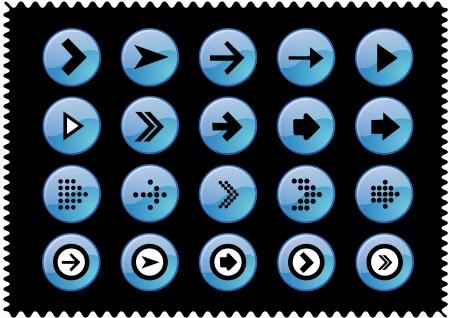 Arrow sign icon set  Simple circle shape internet button on black ground