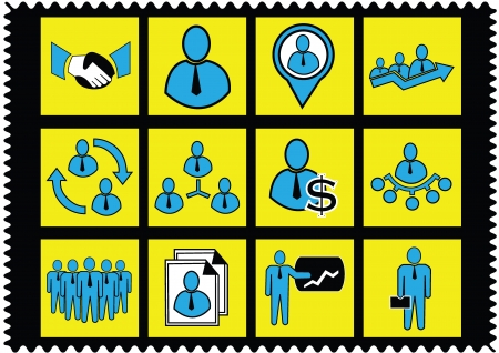 Human resources and management icons set Stock Vector - 20306777