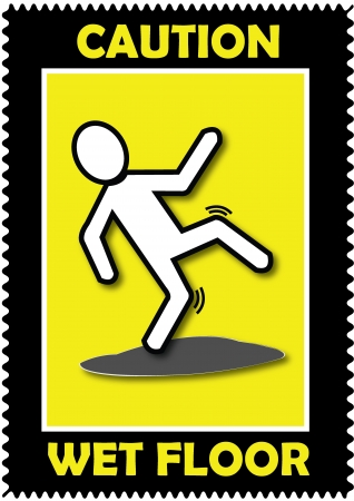 Caution Wet Floor, sticker Illustration