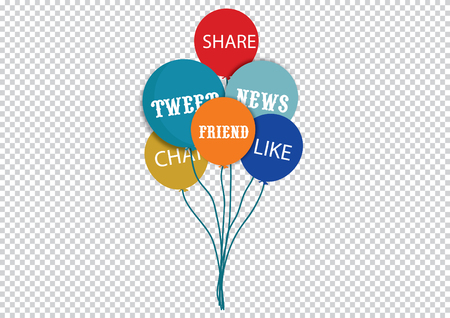 tweet balloon: social media and networking concept  group of color signs with social media services isolated on transparent background