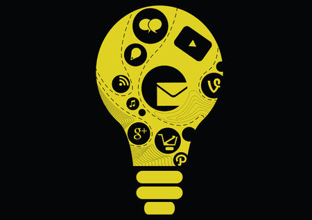 modern info graphic template  creative light bulb with application icons  business software and social media concept