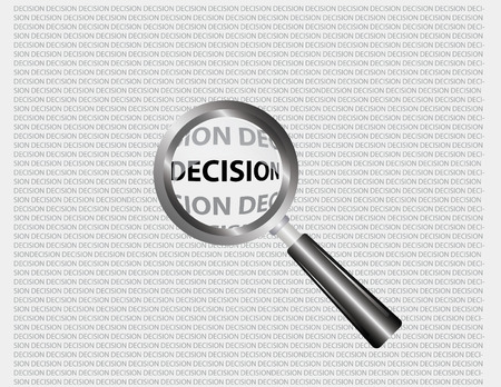 decision word focus through magnifying glass