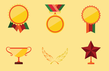 trophy and awards icons set, vector illustration