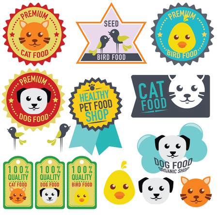 set of animal labels and stickers  vector illustration  Vector