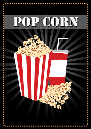 popcorn and a drink  concept Vector
