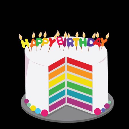 rainbow cake decorated with colorful birthday candles  concept