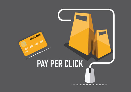 concept of pay per click internet advertising model  concept  Illustration