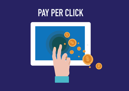 referral: concept of pay per click internet advertising model  concept  Illustration