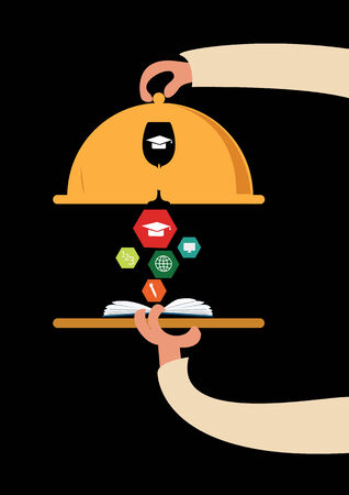 concept of offering a modern education on the serve plate  open books and icons of science  Illustration