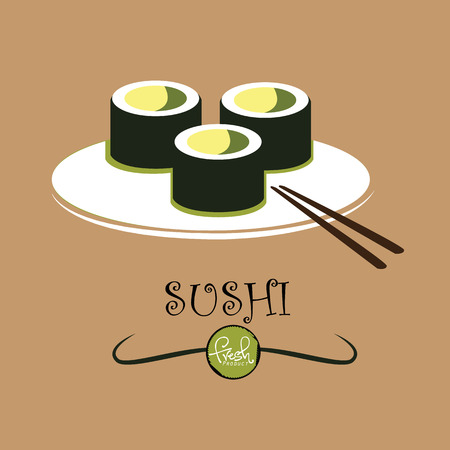 specialities: sushi with chopsticks  concept  Illustration