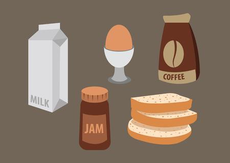 breakfast with coffee, bread, jam, milk, egg. vector illustration