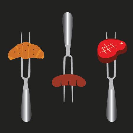 slices of croissant, sausage, beef on meat fork Stok Fotoğraf - 32858431