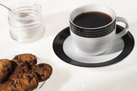 coffee cup, chocolate cookies and sugar, photo