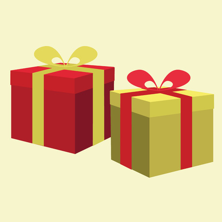 present boxes with a ribbon. vector illustration Illustration