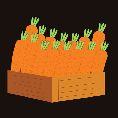 wooden crate: carrots in a wooden crate. vector illustration Illustration