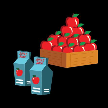 carton box: apple juice carton box. vector illustration.