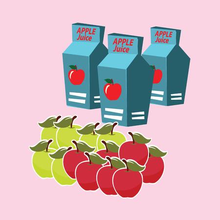 apple juice carton box. vector illustration. Vector