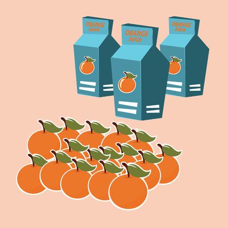 carton box: orange juice carton box. vector illustration. Illustration