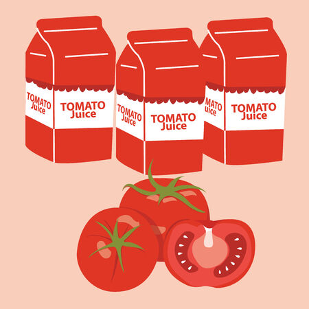 tomato juice carton box. vector illustration. Vector