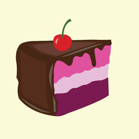 gateau: piece of cake with melted chocolate and cherry