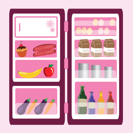 open refrigerator with foods and drinks. vector illustration Vettoriali