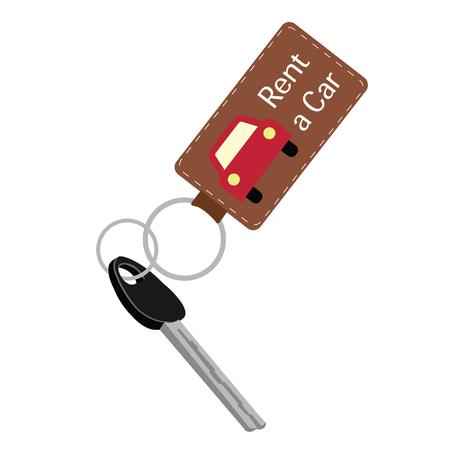 car key in a key chain. vector illustration Vector