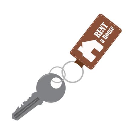 house key in a key chain. vector illustration Vector
