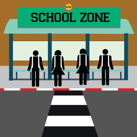 warning school zone. vector illustration Vector