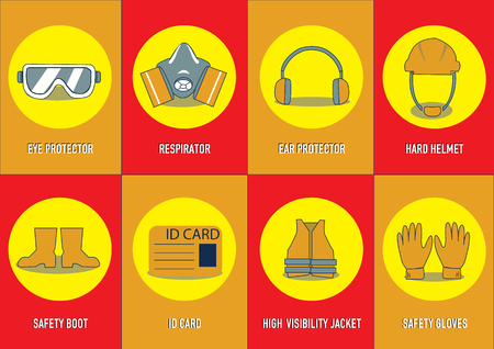 health and safety warning signs. vector illustration Vettoriali