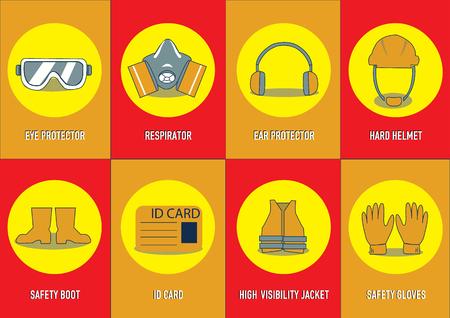 health and safety warning signs. vector illustration Illustration