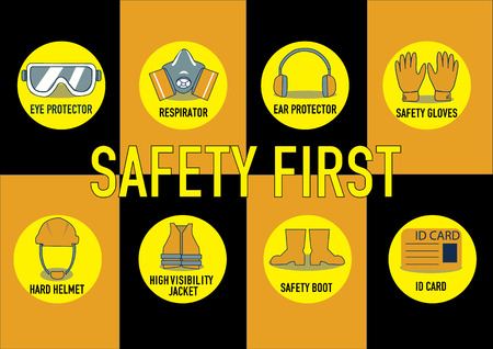 construction equipment: health and safety warning signs. vector illustration Illustration
