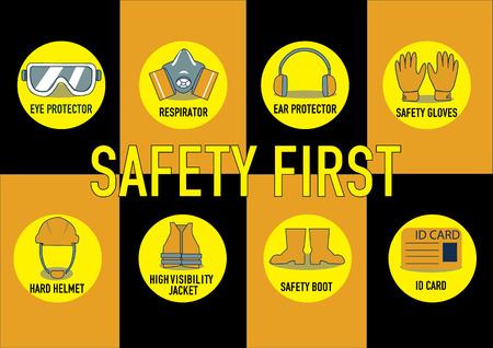 zapatos de seguridad: signos de advertencia de salud y seguridad. ilustraci�n vectorial
