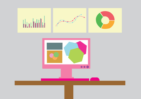 analytic business graph and SEO. vector illustration Illustration
