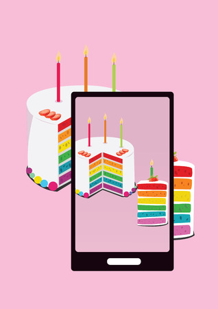 photo of rainbow cake and slice of cake with smartphone Vector