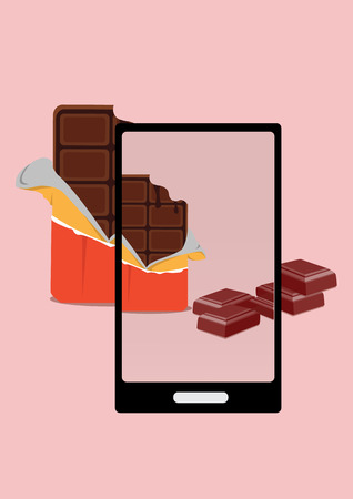 overlook: photo of bite chocolate and chocolate pieces with smartphone Illustration