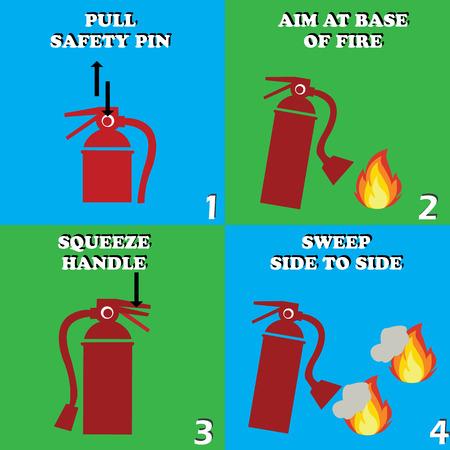 red fire extinguisher procedure. vector illustration Vettoriali