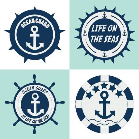 wheel guard: ocean guards label.  Illustration