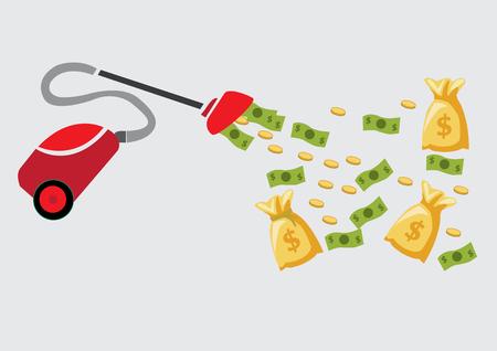 earn money: earn money. vacuum cleaner concept