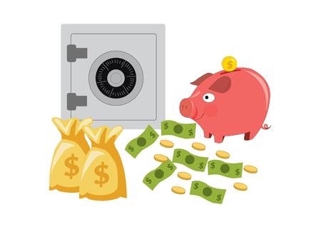 piggy bank money box with safe deposit box. vector illustration