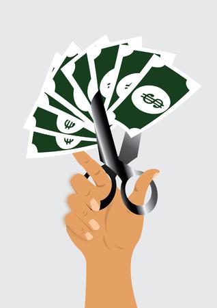 cut price: cut price. scissor cutting dollar sign. vector illustration Illustration